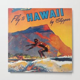 Hawaii Surfing, Diamondhead, World Airways Vintage Travel Poster Metal Print
