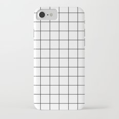 White Black Grid Minimalist iPhone 7 Slim Case