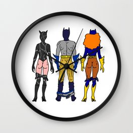 Superhero Butts Love 7 - Cat Bats Wall Clock
