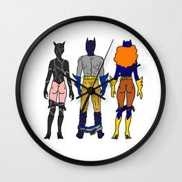 Superhero Butts Love 7 - Cat Bats Wall Clock