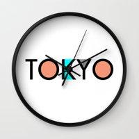 typo Wall Clocks featuring Tokyo Typo by Rothko