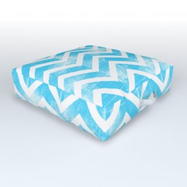 Maritime Aqua Teal Chevron Herringbone ZigZag - Mix & Match Outdoor Floor Cushion