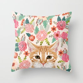 Tabby Cat florals cute spring garden kitten orange tabby cat lady funny girly cat art pet gifts  Throw Pillow