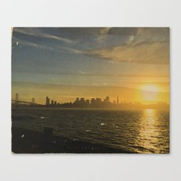 Sunset View from Treasure Island: San Francisco Skyline - Distressed Photo on Wood Canvas Print