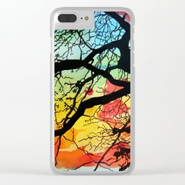 Painting Colorful Landscape Trees Nature Clear iPhone Case