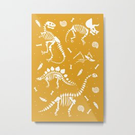 Dinosaur Fossils on Mustard Yellow Metal Print