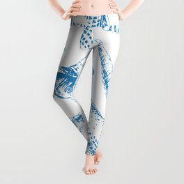 Tropical underwater creatures in blue and white Leggings