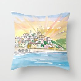 Cervo Liguria Italian Village by The Sea Throw Pillow
