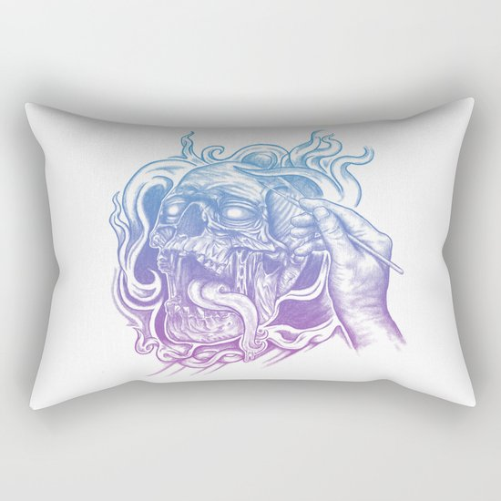 Painted Skull Rectangular Pillow