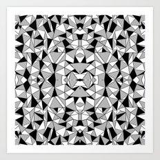 Ab Lines Tile with Black Blocks Art Print