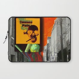 SKULL GIRL CAUSES PAIN WITH ROUNDED BLACK BORDER Laptop Sleeve