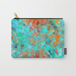psychedelic geometric circle pattern and square pattern abstract in orange and blue Carry-All Pouch