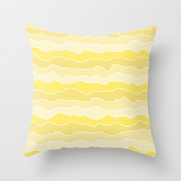 Four Shades of Yellow with White Squiggly Lines Throw Pillow
