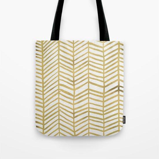 Gold Herringbone Tote Bag