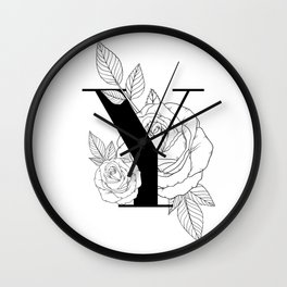 Monogram Letter Y with Rose Line Art Wall Clock
