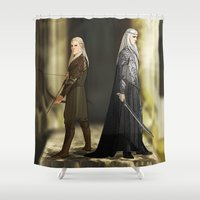 thranduil Shower Curtains featuring Legolas & Thranduil by rdjpwns