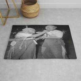 Vintage Photograph - Two Clowns Rug