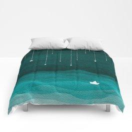 Falling stars, sailboat, teal, ocean Comforters