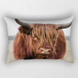 Close up of a Wild Scottish Highlander cow in national park | Cattle in Nature | Veluwe park, the Netherlands | Travel photography Rectangular Pillow