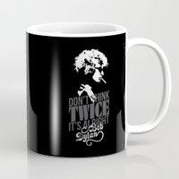 bob dylan Mugs featuring Bob Dylan by JaimieHallarn
