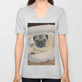 Pug and His Bed Unisex V-Neck