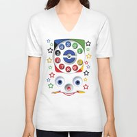 cartoons V-neck T-shirts featuring Retro Vintage smiley kids Toys Dial Phone iPhone 4 4s 5 5s 5c, ipod, ipad, pillow case and tshirt by Three Second