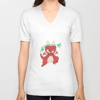 magic the gathering V-neck T-shirts featuring Chibi Red Dragon Magic the Gathering Token by Deadlance