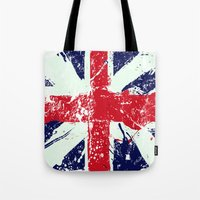 union jack Tote Bags featuring Union Jack  by UrbanCandy