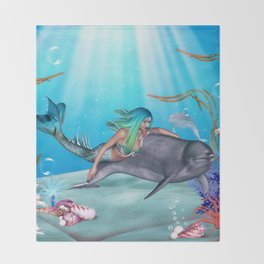 The Mermaid And The Dolphin Throw Blanket