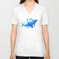 shark V-neck T-shirts featuring Shark by Corina Rivera Designs