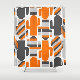 Modern striped cacti Shower Curtain
