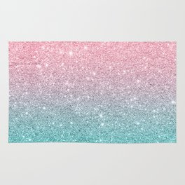 Salmon Pink To Turquoise-Blue Sparkling Glitter Rug
