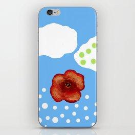 Coquelicot et deux nuages bis iPhone Skin