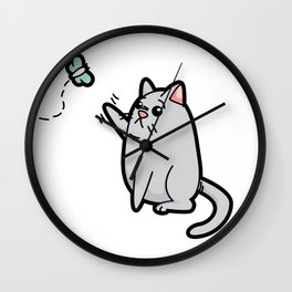 Fat Cat Trying to Get Butterfly Wall Clock