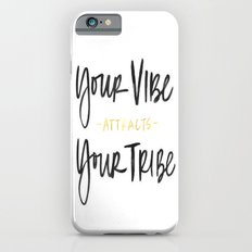 Gold Black White Ink Brushtroke Watercolor Vibe Attracts Your Tribe Ink Calligraphy Typography Quote Slim Case iPhone 6s