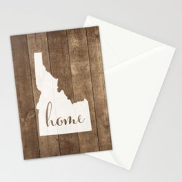 Idaho is Home - White on Wood Stationery Cards