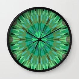 Green Retro Geometry Mandala Wall Clock