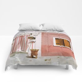 Sunny pink house Comforters