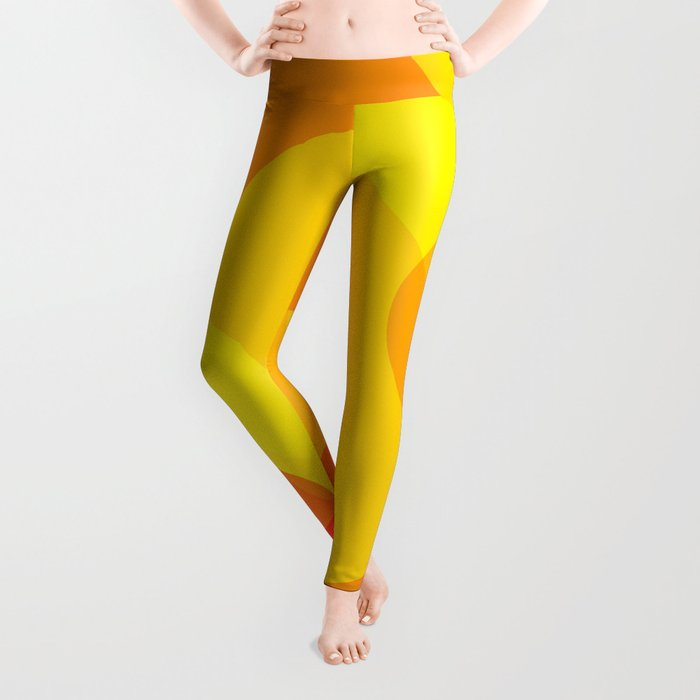 Orange Spheres Abstract Leggings