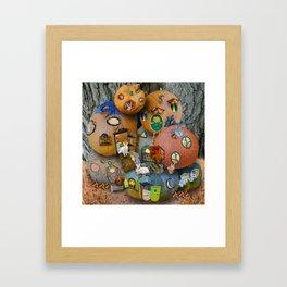 Fall Pumpkin Fantasy Tiny House Village Framed Art Print