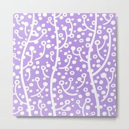 Mid Century Modern Spring Blossoms Lavender Metal Print