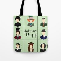 johnny depp Tote Bags featuring Johnny Depp Character Print by Loverly Prints