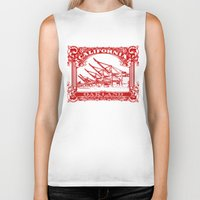 oakland Biker Tanks featuring Oakland Classic Red by Kris alan apparel
