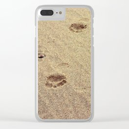 Footprints in the Sand in my Walk on the Beach Clear iPhone Case