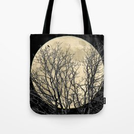 Tree with Crow Against Full Moon A181 Tote Bag