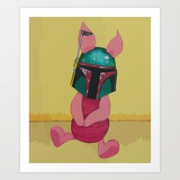 piglet Art Prints featuring Piglet Fett by Steve Smith paperbirdart