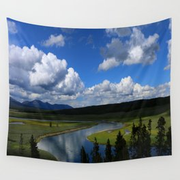Meadow With Yellowstone River Wall Tapestry