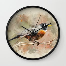 American Robin Watercolor Art Wall Clock