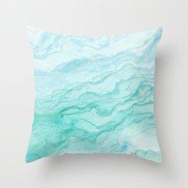 Ocean Blue Marble Texture Throw Pillow