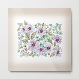 Colorful floral pattern . Beige background . Metal Print